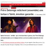 01. 2PHOTO - 25 octobre 2016 Virgin Radio Les fréro relache ensemble une tortue à Tahiti.